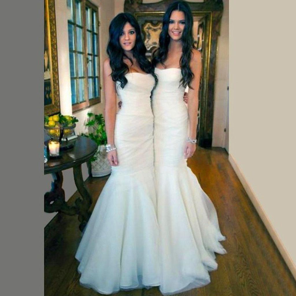 Gorgeous white tulle mermaid long bridesmaid dresses for wedding