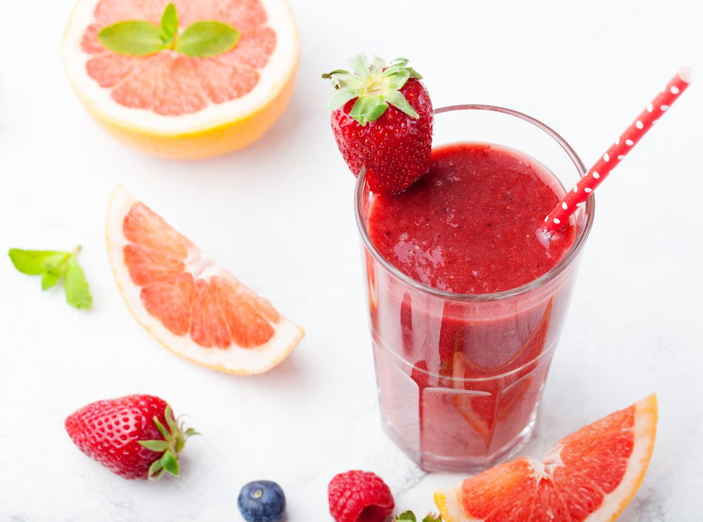 Jus de pamplemousse aux fraises   Recette   Recette jus