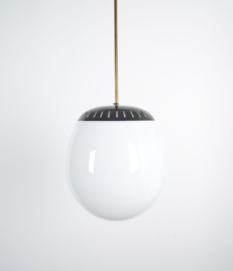Stilnovo Large Ball Pendant Lamp Opal Glass Circa 1950 Pendant Lamp Ball Pendant Stilnovo