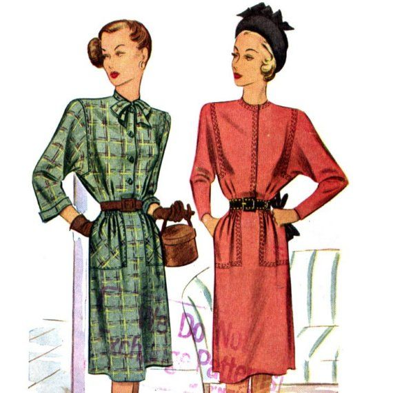 batwing+dress+pattern   Vintage 40s Batwing Dress Pattern with Topstitch Details- Size 14 ...