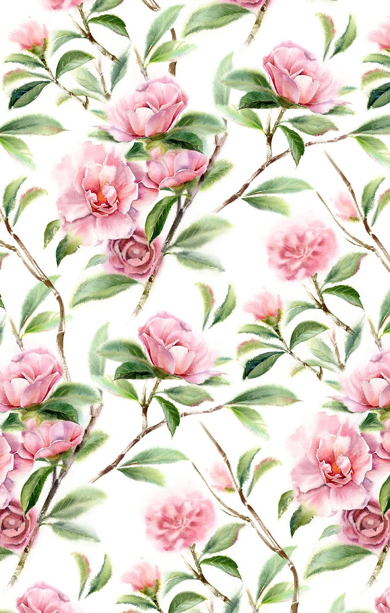 Elegant And Tender Hand Painted Aquarelle Pattern By Kateryna