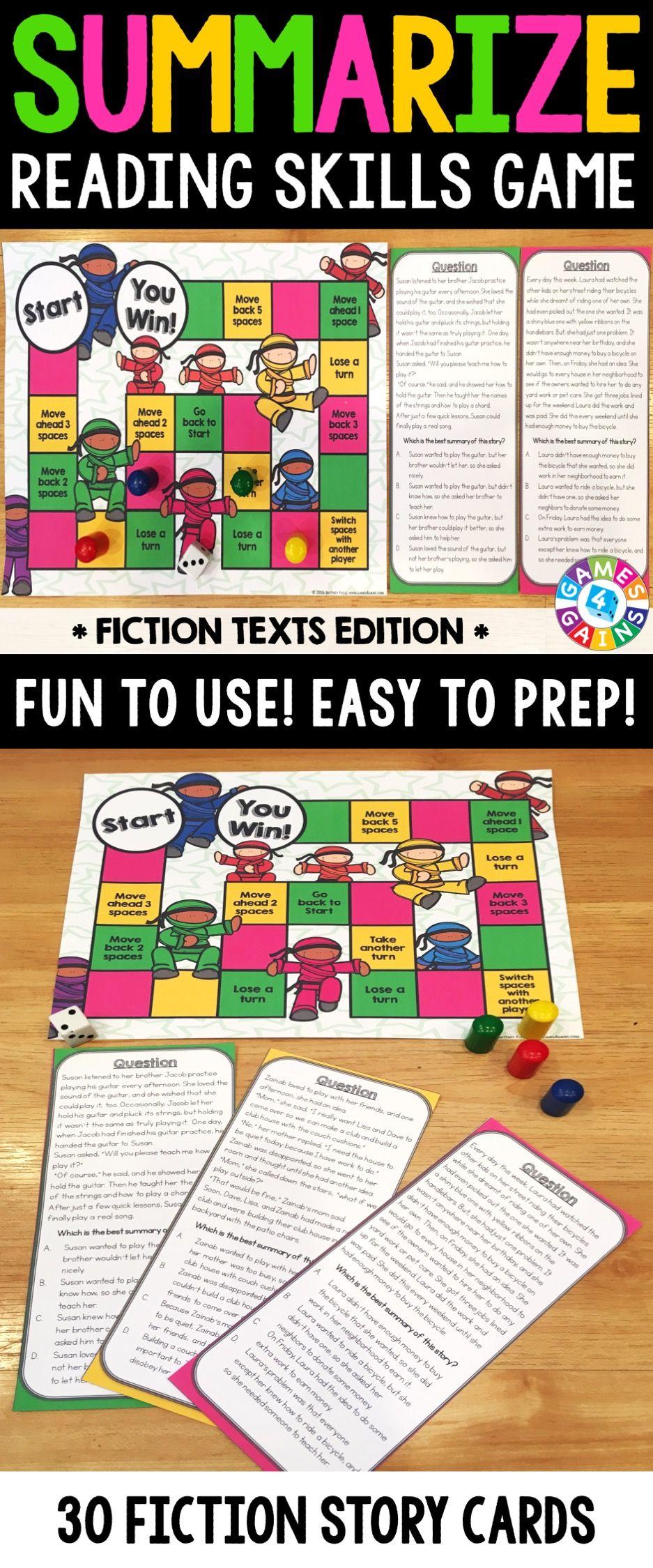 Summarizing Activity Summarize Fiction Reading Game Activitie Paraphrasing And Summary Exercises Exercise Pdf