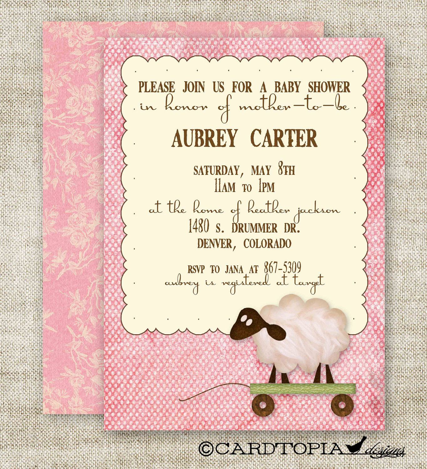 LAMB BABY SHOWER Invitations Digital Printable Personalized Vintage ...