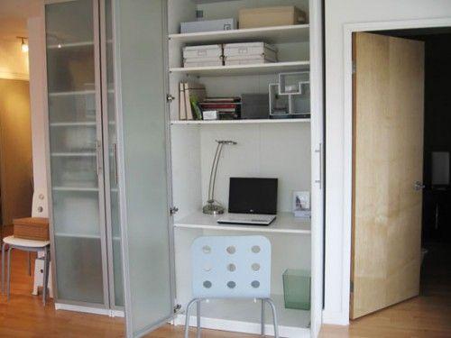 10 Ideas To Turn Cabinet Or Bookcase Into A Mini Home Office Shelterness Ikea Kleiderschrank Pc Schrank Versteckter Schreibtisch