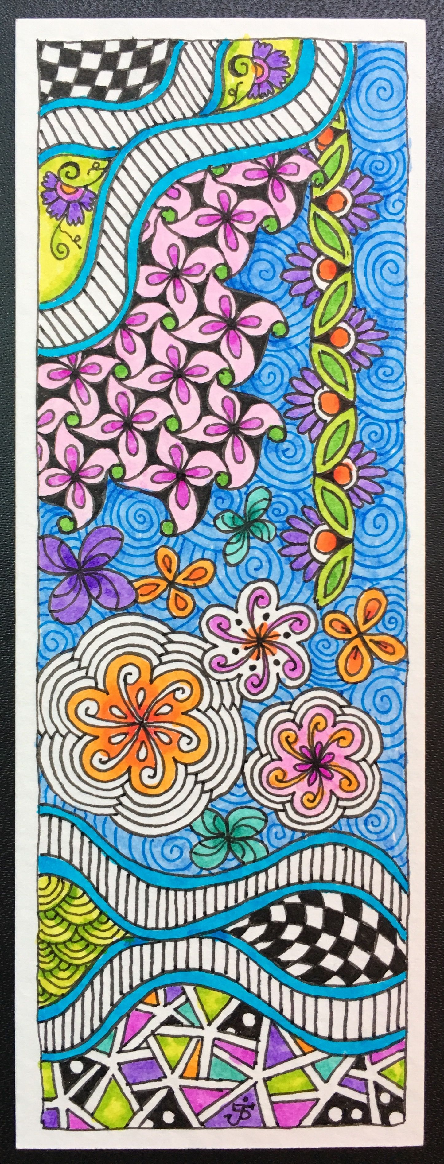 ZIA bookmark. Julie Beland, 5/16. Zentangle.