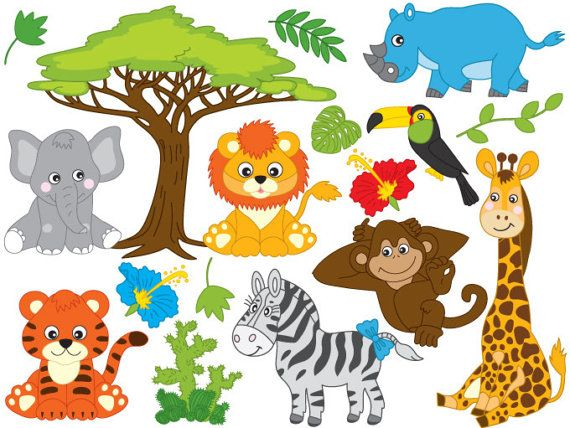 jungle animals clipart digital vector safari animals african rh pinterest com safari animals clipart free safari animals clipart png