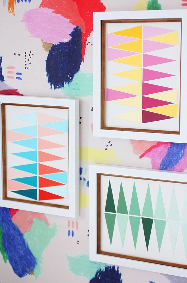 I was having coffee with my friend, Lauren (the amazing interior designer behind LaurInteriors) and she showed me some geometric gradient art pieces she made a while back, and I could not believe how