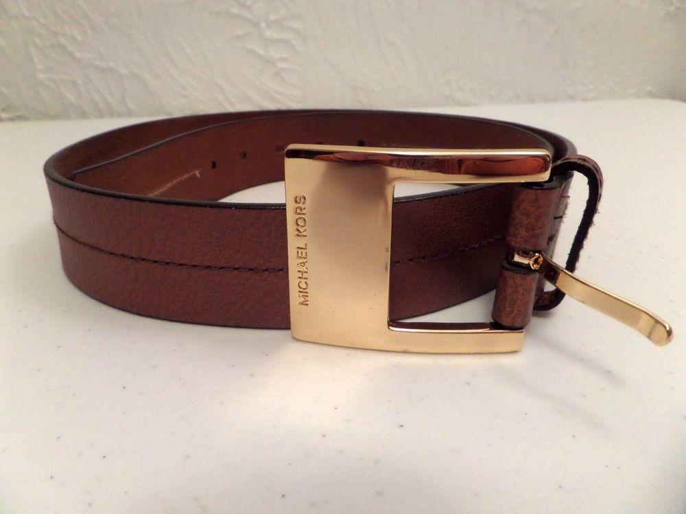 f23ce5ee82d5 5b7c3 d9f8a  order michael michael kors womens leather luggage belt mk gold  buckle sz large vgc michaelkors 23fba