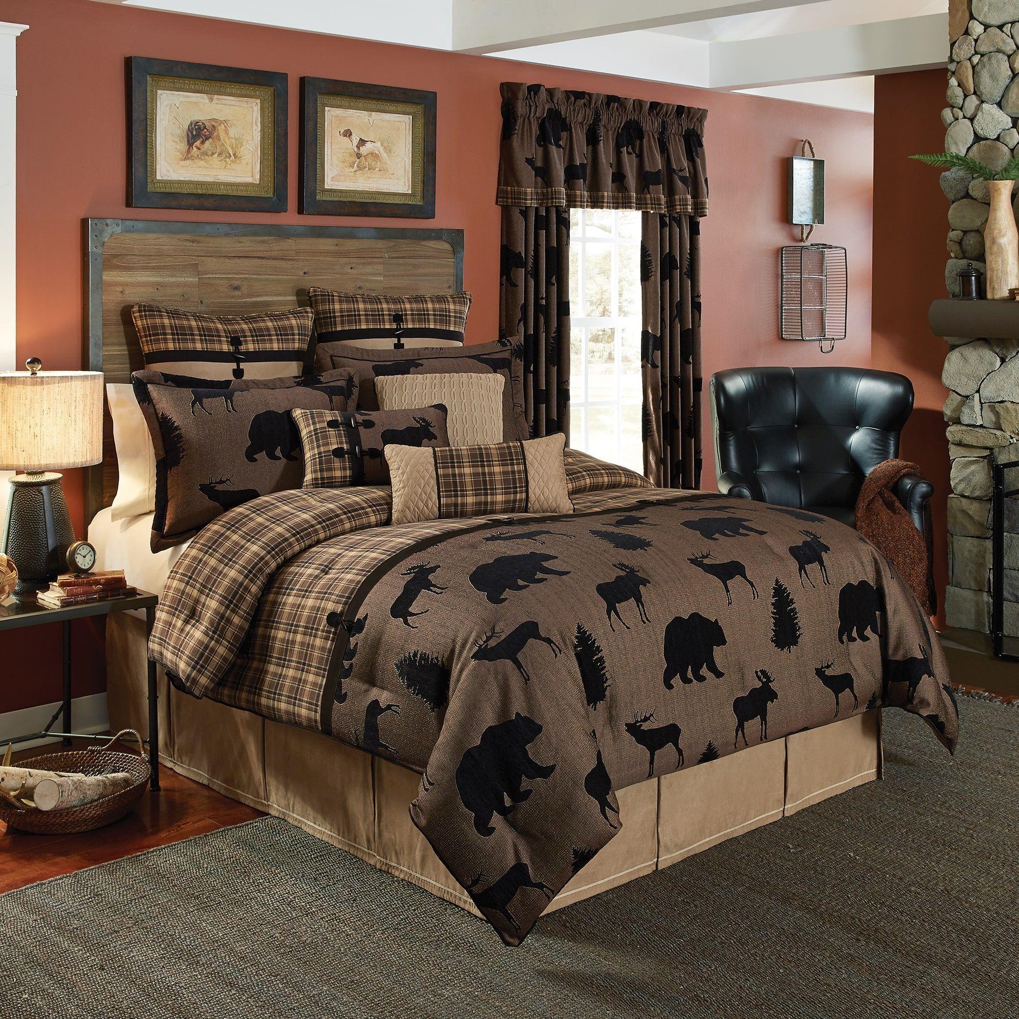 Croscill Summit Chenille Jacquard Woven Lodge 4 Piece Comforter