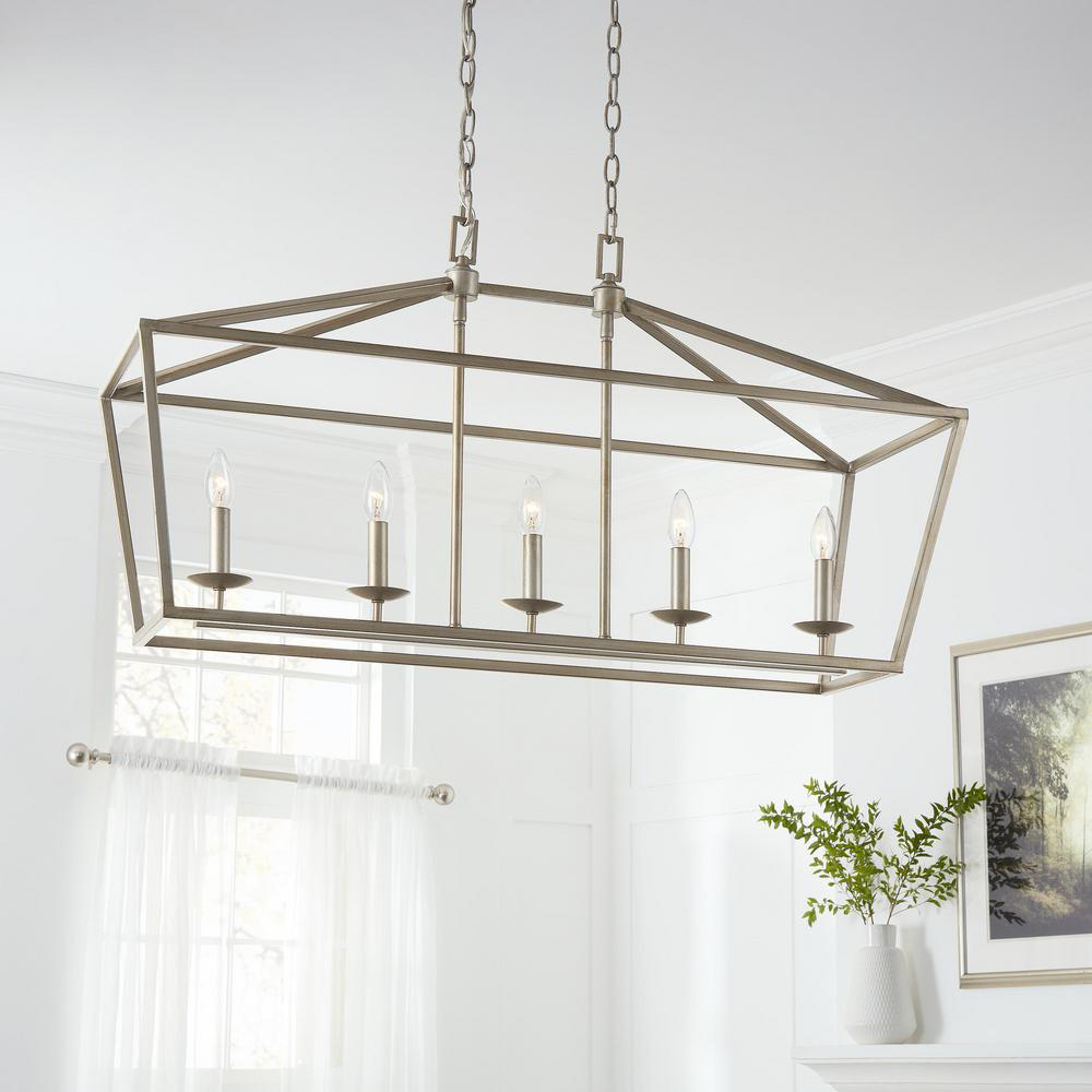 Home Decorators Collection Weyburn 5 Light Antique Silver Caged Island Chandelier Lsa 5 76201 The Home Depot Dining Room Chandelier Dinning Room Chandelier Dining Room Light Fixtures