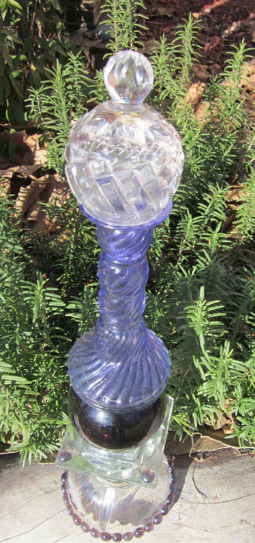 Glass yard art  Glass Garden Yard Art Sculpture Totem Springtime Purple  Garlic