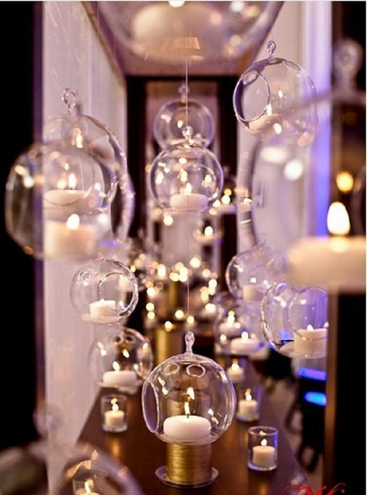 Amazon Com 12 Pcs Lot 80mm Hanging Tealight Holder Glass Planter
