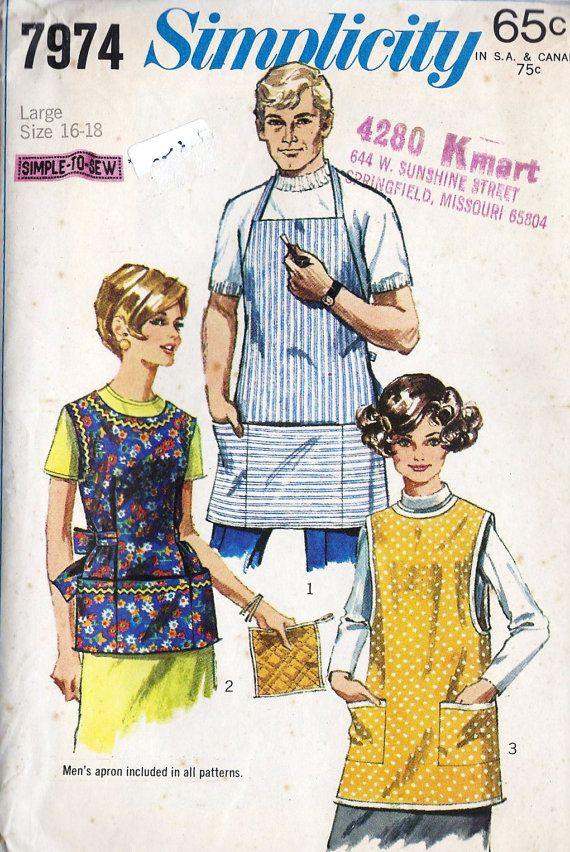 1960s Misses\' and Men\'s Apron and Potholder Vintage Sewing Pattern ...