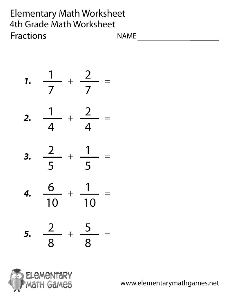 Fourth Grade Adding Fractions Worksheet Printable Fractions Worksheets 4th Grade Math Worksheets Math Worksheets
