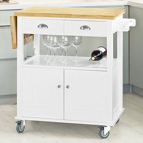 Relaxdays Küchenwagen Bambus ALFRED S mit schwarzer Marmorplatte HBT - küchenwagen mit schubladen