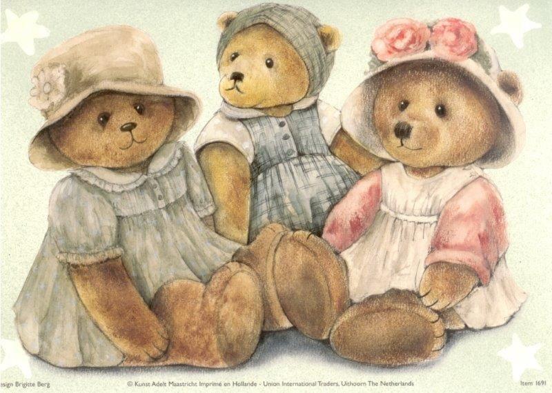 картинки медвежат для декупажа кабриолет