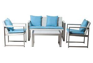 Chester Lounge Set, White/Blue*