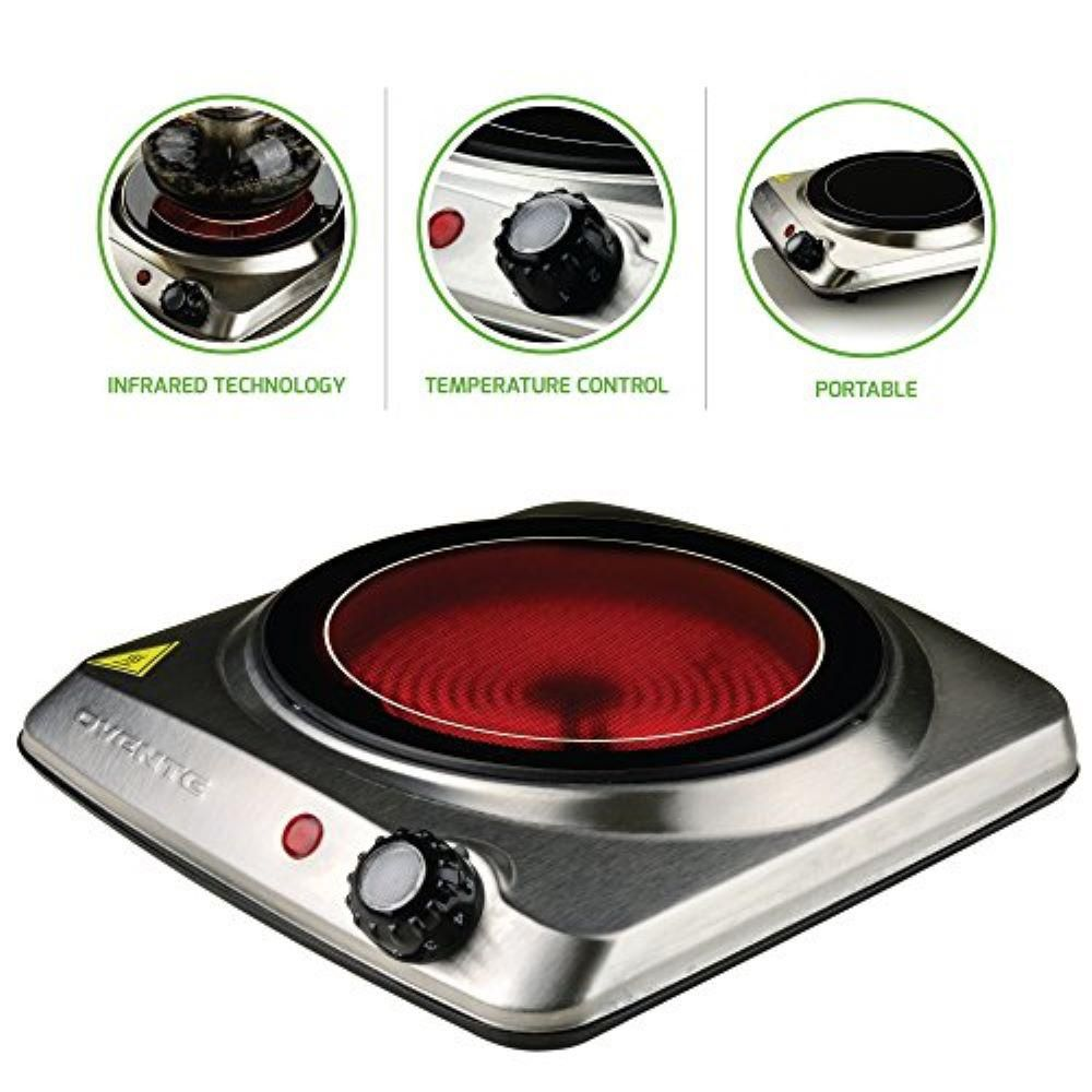 Ovente Single Burner 7 In Silver Hot Plate Ceramic Glass Stainless Steel 1000 Watt Bgi101s Single Burner Hot Plate Electric Cooktop