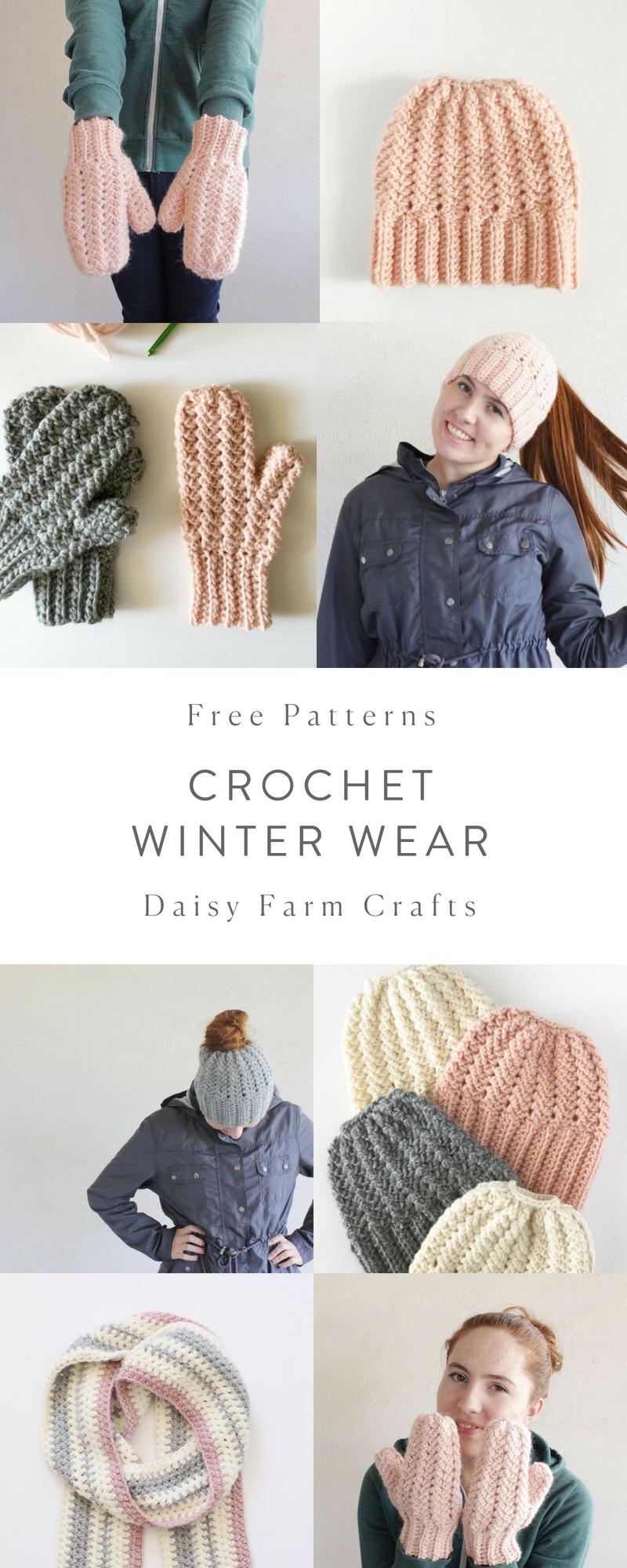 Free Crochet Winter Wear Patterns - Daisy Farm Crafts #crochet ...