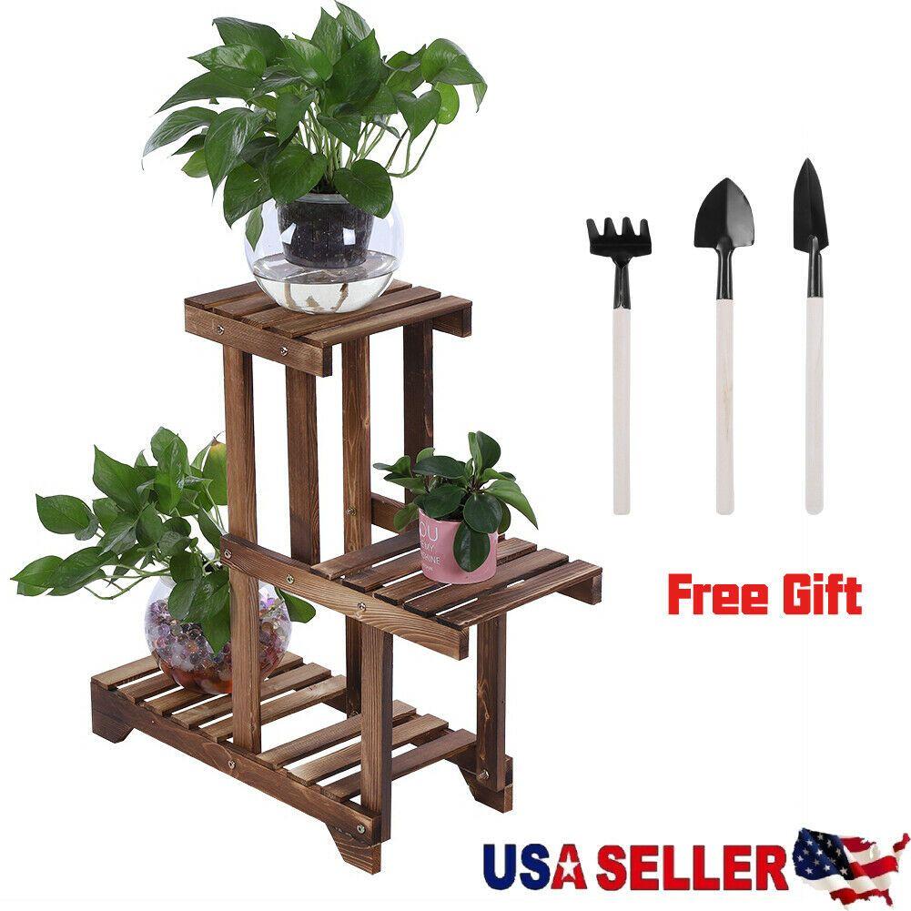 Garden Wooden Plant Stand Pot Planter Holder Rack 3 Tier Display