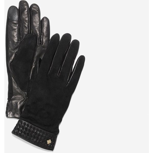 32a6e80cc1a Cole Haan Womens Braided Cuff Suede Gloves (€105) ❤ liked on Polyvore  featuring accessories, gloves, black, suede gloves, palm gloves, cole haan,  suede ...