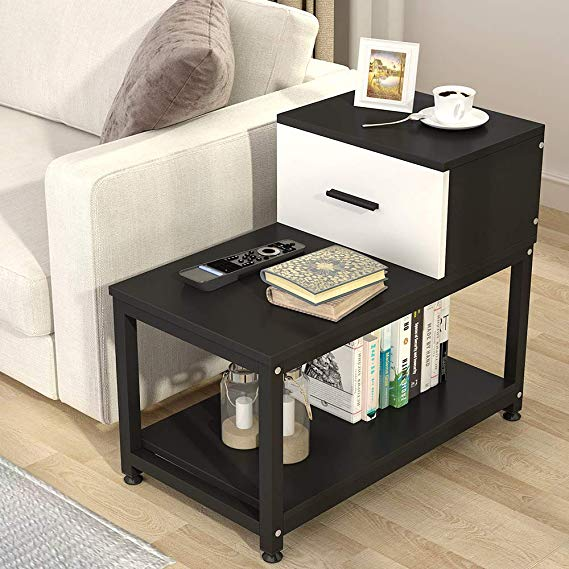 Amazon Com Tribesigns Modern End Table With Drawer 3 Tier Chair Side Table Night Stand With Storag In 2020 Chair Side Table End Tables With Drawers Modern End Tables