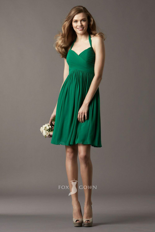 Green short dress for wedding  Popular Emerald Halter Sweetheart Ruched Bodice Short Aline