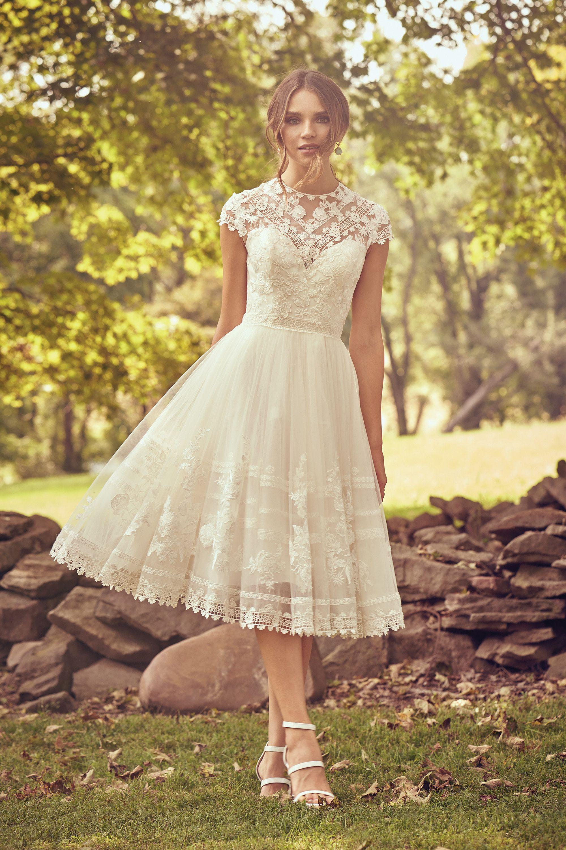 Style 20 Crew Neckline Knee Length Lace Dress   Lillian West ...