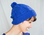 Royal Blue Hat, Handknit Beanie, Cable Stitch, Small Pompom, Unisex, Men, Women, Ready to ship