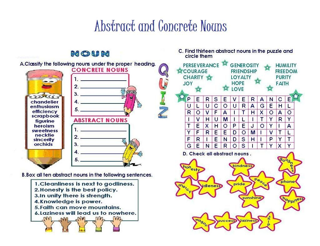 worksheet Concrete And Abstract Nouns Worksheet abstract nouns list a z google search teaching english the focus of this colorful worksheet is concrete and youngsters complete four activities to help them distinguish concre