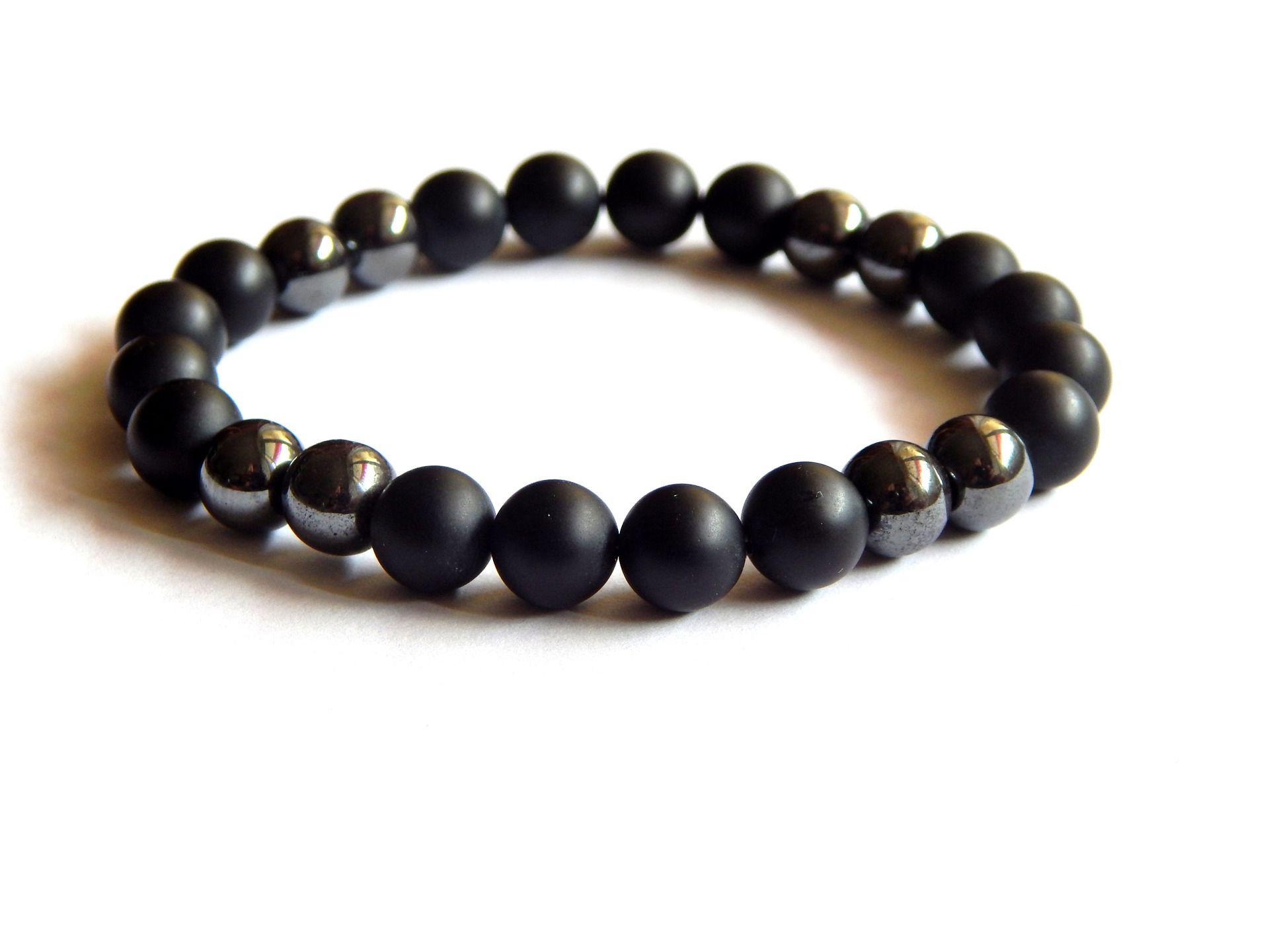 Bracelet homme noir mat