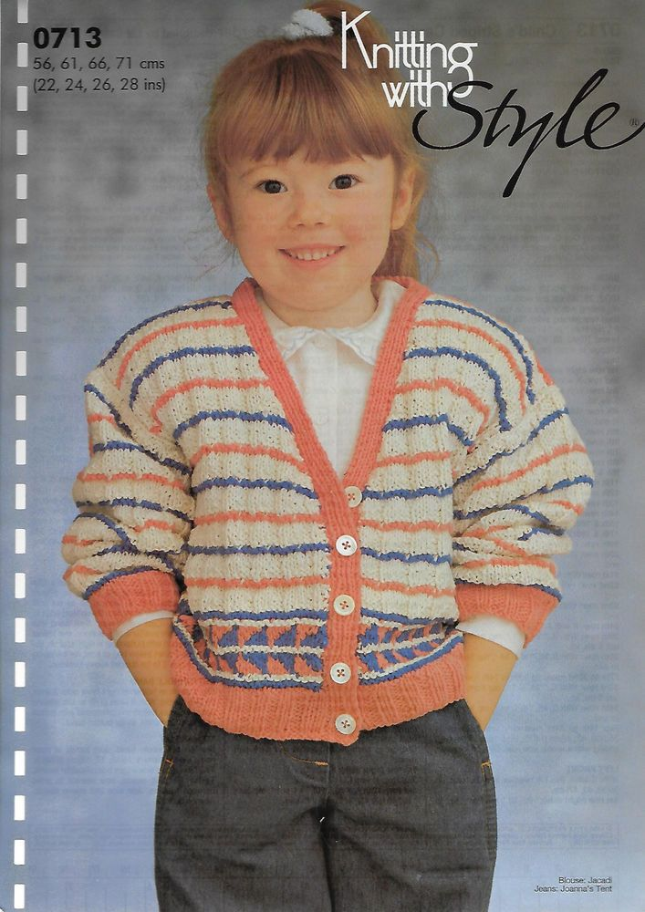 Child\'s Striped Cardigan Jacquard Border KWS 713 knitting pattern DK ...