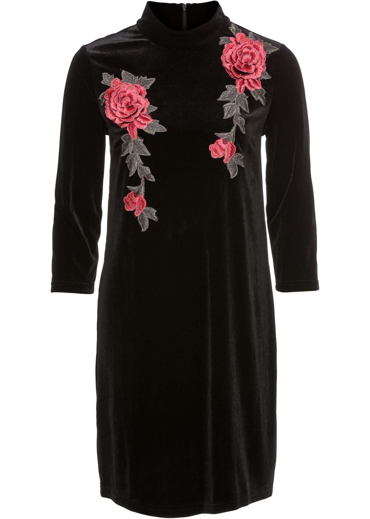 ba5a00cf9bf Bonprix Bonprix Damen Jersey-Kleid aus Samt mit Stickerei ...