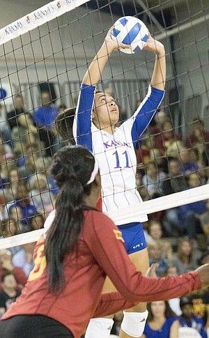 Kansas Sophomore Ainise Havili 11 Makes A Set As Iowa State S Monique Harris Readies Female Volleyball Players Women Volleyball Volleyball Players