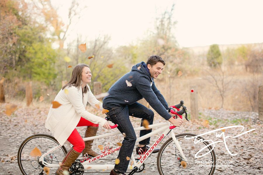 Tandem Bike and Fall Leaves Engagement photos?!