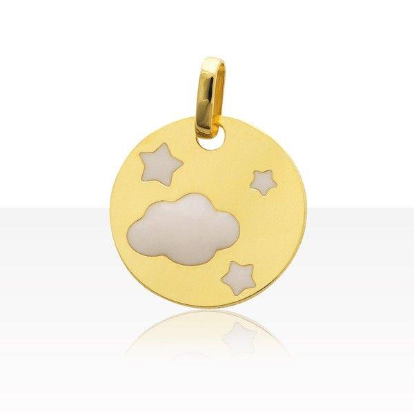 notre coup de coeur medaille bebe nuage etoiles or 750 id e cadeau de bapt me pour b b. Black Bedroom Furniture Sets. Home Design Ideas