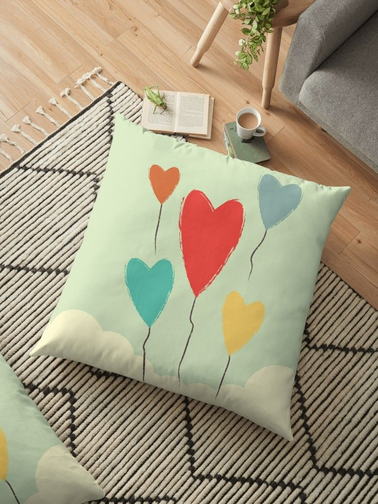 Heart Balloons Above The Clouds Floor Pillow By Queenielamb Floor Pillows Pillows Heart Balloons