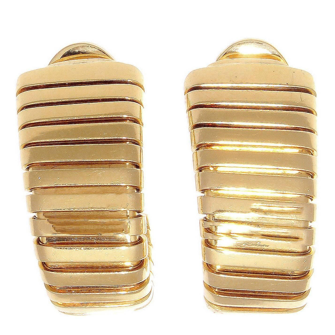 Bulgari Tubogas Gold Earrings 18 Karat Gold Jewelry Gold Earrings Fine Pearl Jewelry