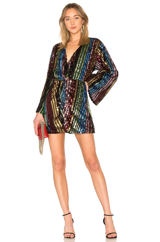 78fb46cc01 LPA Twist Front Dress With Kimono Sleeve in Multi Sequin | REVOLVE ...