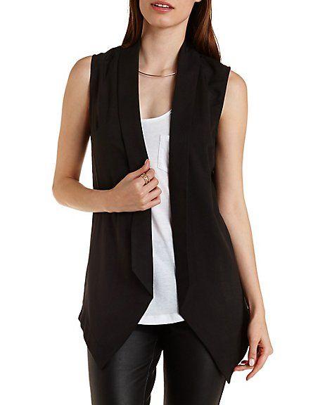 Chiffon-Back Blazer Vest #vest #blazer