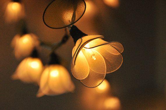 20 luces de cadena de flores blancas para boda por smilecotton