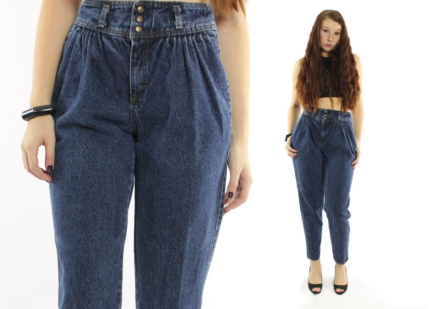 aa52ce06631 Vintage 80s Pleated Jeans High Waisted Pants Darl Blue Denim Tapered ...