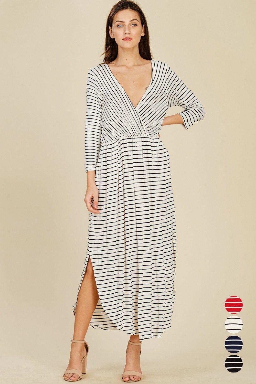 Stripe 3 4 Sleeve Wrap Dress Style D5389 Knit Dress Featuring Stripe 3 4 Sleeve V Neck Waist Elastic Band Striped Maxi Dresses Dresses Wrap Dress Styles [ 1500 x 1000 Pixel ]