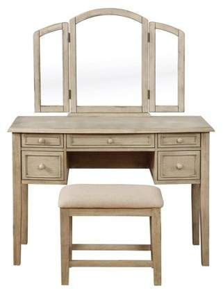 Sophie Vanity And Stool White Wash Powell Company Beige