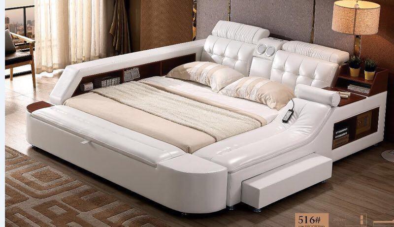 Bed King Size Leather Bed With Speakers Leather Bed Bedroom
