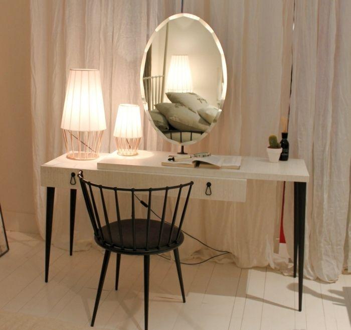 Schminktisch Mit Spiegel Oval Und Lampe