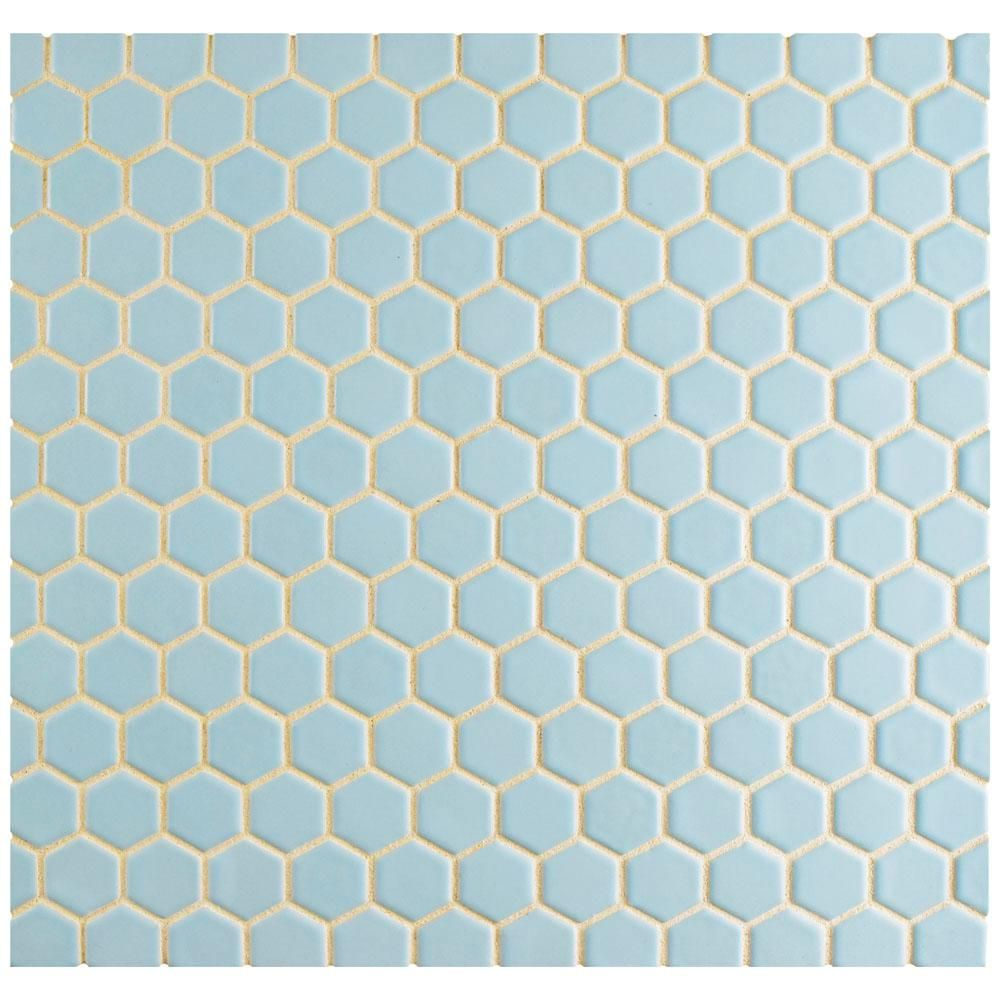 Merola Tile Metro Hex Matte Light Blue 10-1/4 in. x 11-3/4 in. x 5 mm Porcelain Mosaic Tile (8.54 sq. ft. / case)-FXLM1HML - The Home Depot