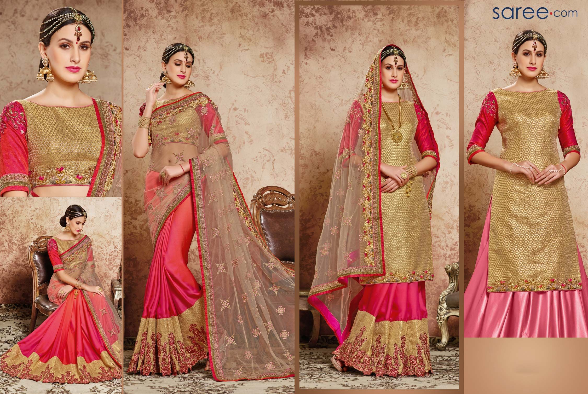 Maroon and cream wedding decor  CREAM AND PINK BANARASI SILK SAREE WITH EMBROIDERY WORK  Sarees