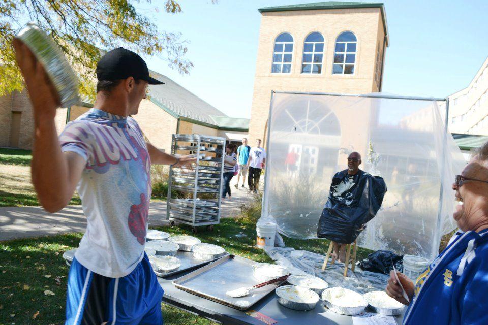 Briar Cliff University pie-throwing contest