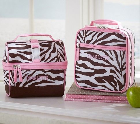 Personalized Chocolate Zebra Lunch Bag Pottery Barn Kids